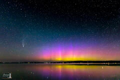 Aurora Borealis and Comet NEOWISE over Crystal Lake