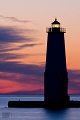 Colorful Sunset Afterglow over the Frankfort Lighthouse