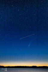 Celestial Goal - the ISS passes between Comet NEOWISE and the Big Dipper