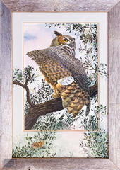 Great Horned Owl with Embellished Mat