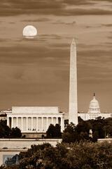 Harvest Moonrise over Washington DC (Sepia)