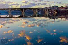 Sunset Reflections at the Key Bridge and Georgetown