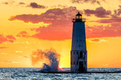 Wavy Sunset at the Frankfort Lighthouse