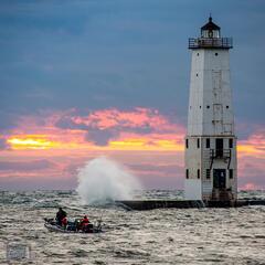 Wavy Sunset Fishermen