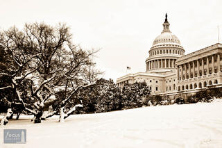 US Capitol on a Snowy Winter Day (Sepia)
