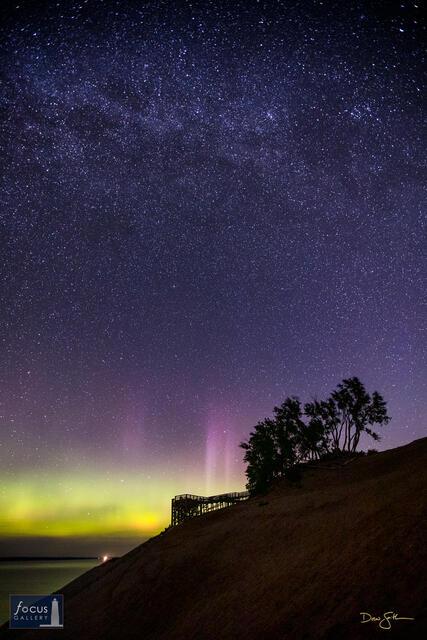 Aurora Pillars over the Lake Michigan Overlook on Sleeping Bear