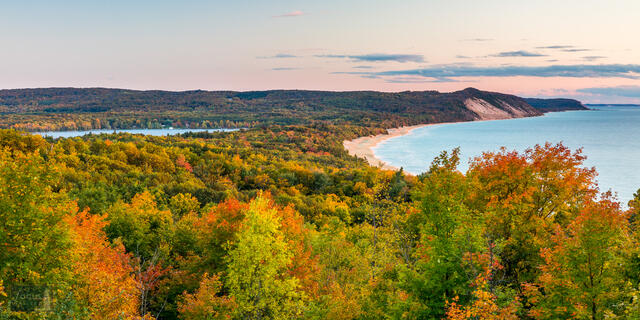 View to south from Green Point Dunes, showing Old Baldy, Lower Herring Lake and Lake Michigan shoreline and autumn colors.