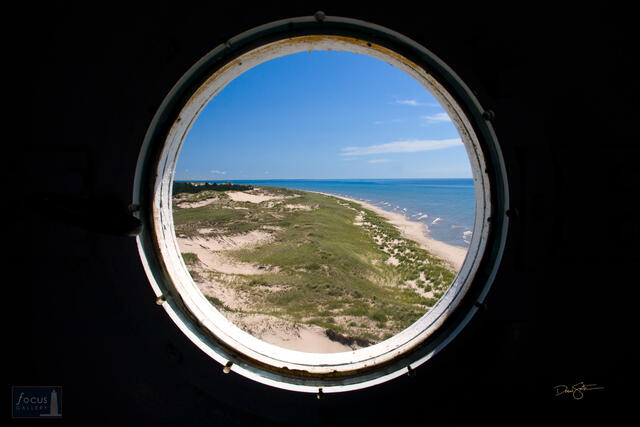 View through window in the tower of the Big Sable Point Lighthouse.