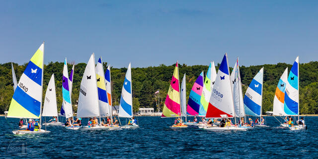 Butterfly sailboats in a regatta on Crystal Lake at the Crystal Lake Yacht Club