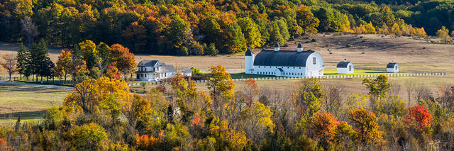 View of DH Day Barn and Farm in autumn from Dune Climb in Sleeping Bear Dunes National Lakeshore.