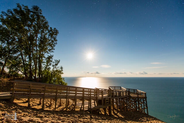 Full moon over the Lake Michigan Overlook platform at Sleeping Bear Dunes National Lakeshore.