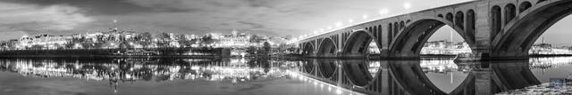 Georgetown Waterfront at Night (B+W)