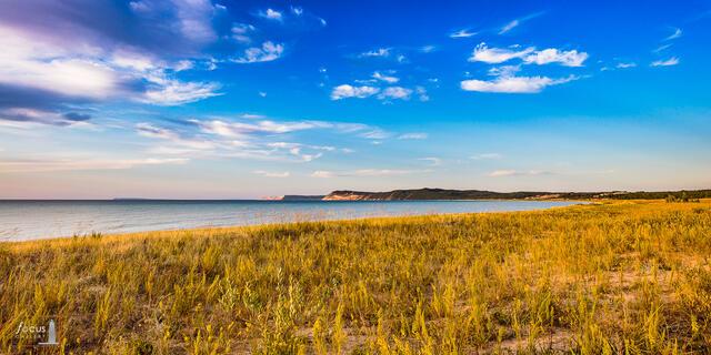 Afternoon light on goldenrod and dunes along Platte Bay, Sleeping Bear dunes National Lakeshore.