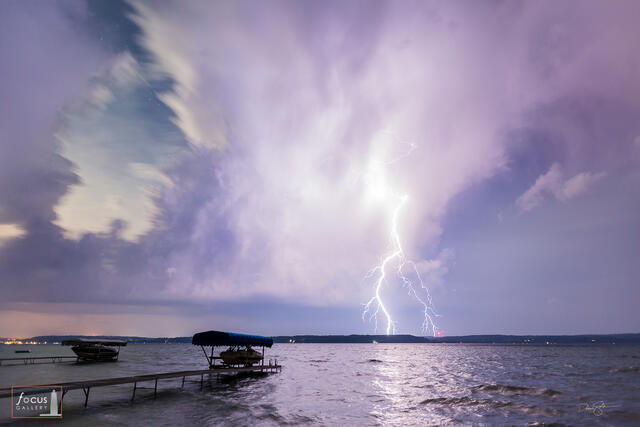 Lightning strikes over Crystal Lake, Benzie County, Michigan.