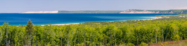 Sweeping panoramic view of Sleeping Bear Dune, the Empire Bluffs, Platte River Point and Platte Bay on Lake Michigan.