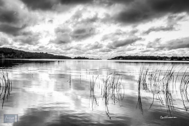 Sunset Cloud Reflection - Arcadia Lake (B+W)