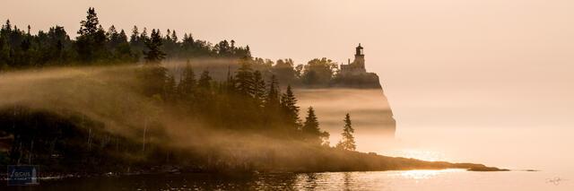 Sunrise and fog at Split Rock Lighthouse on Lake Superior.