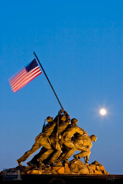 US Marine Corps Memorial at Dusk