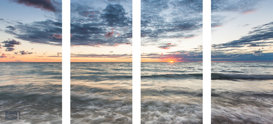 Panoramic sunset over Lake Michigan with blue water and skies and orange sun in four panels.