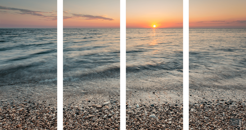 Sunset over Lake Michigan and rocky shoreline at Point Betsie in four panels.