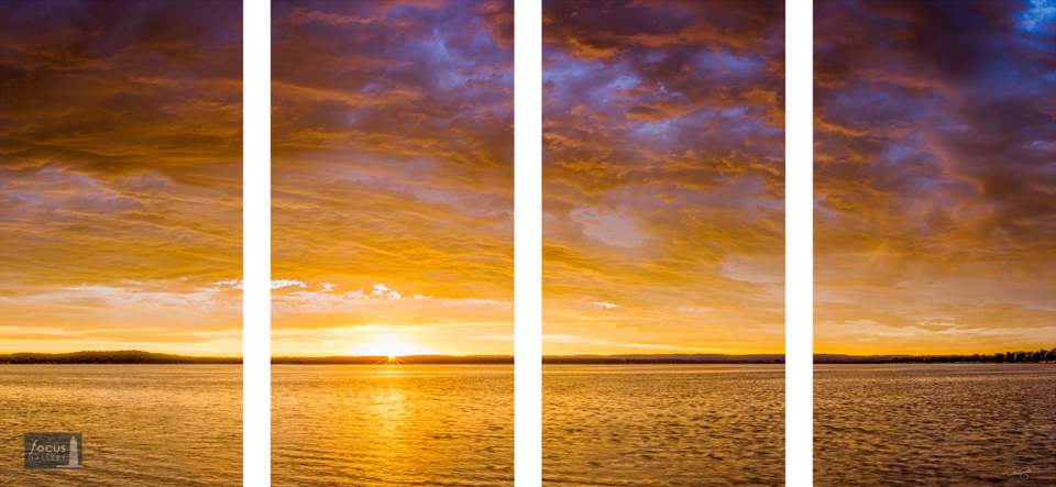 Dramatic sunrise over Platte Lake in Benzie County, Michigan in four panels.