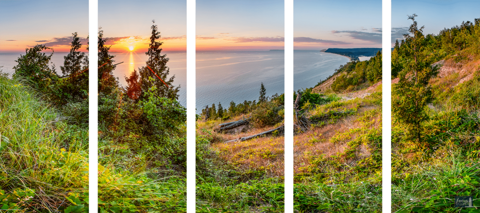 Sunset over Lake Michigan, Empire and Sleeping Bear Dune from Empire Bluff Trail in five panels.