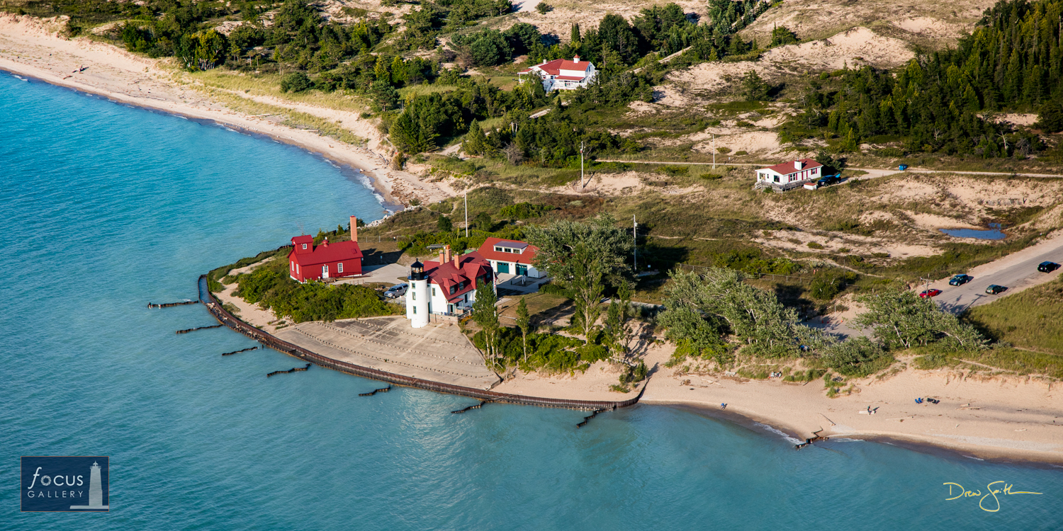 Photo © Drew Smith Aerial view of the Point Betsie Lighthouse, said to be one of the most-photographed lighthouses in the world...