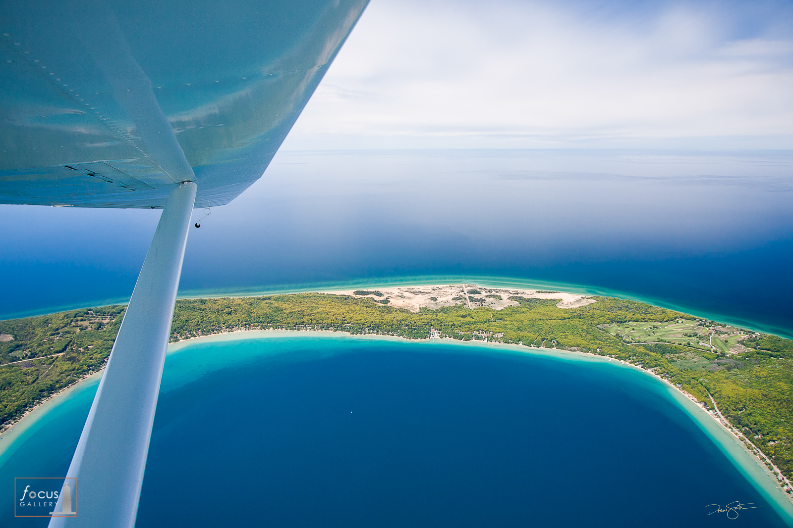 Aerial view from a glider of Crystal Lake, Lake Michigan and Point Betsie in Benzie County, Michigan.