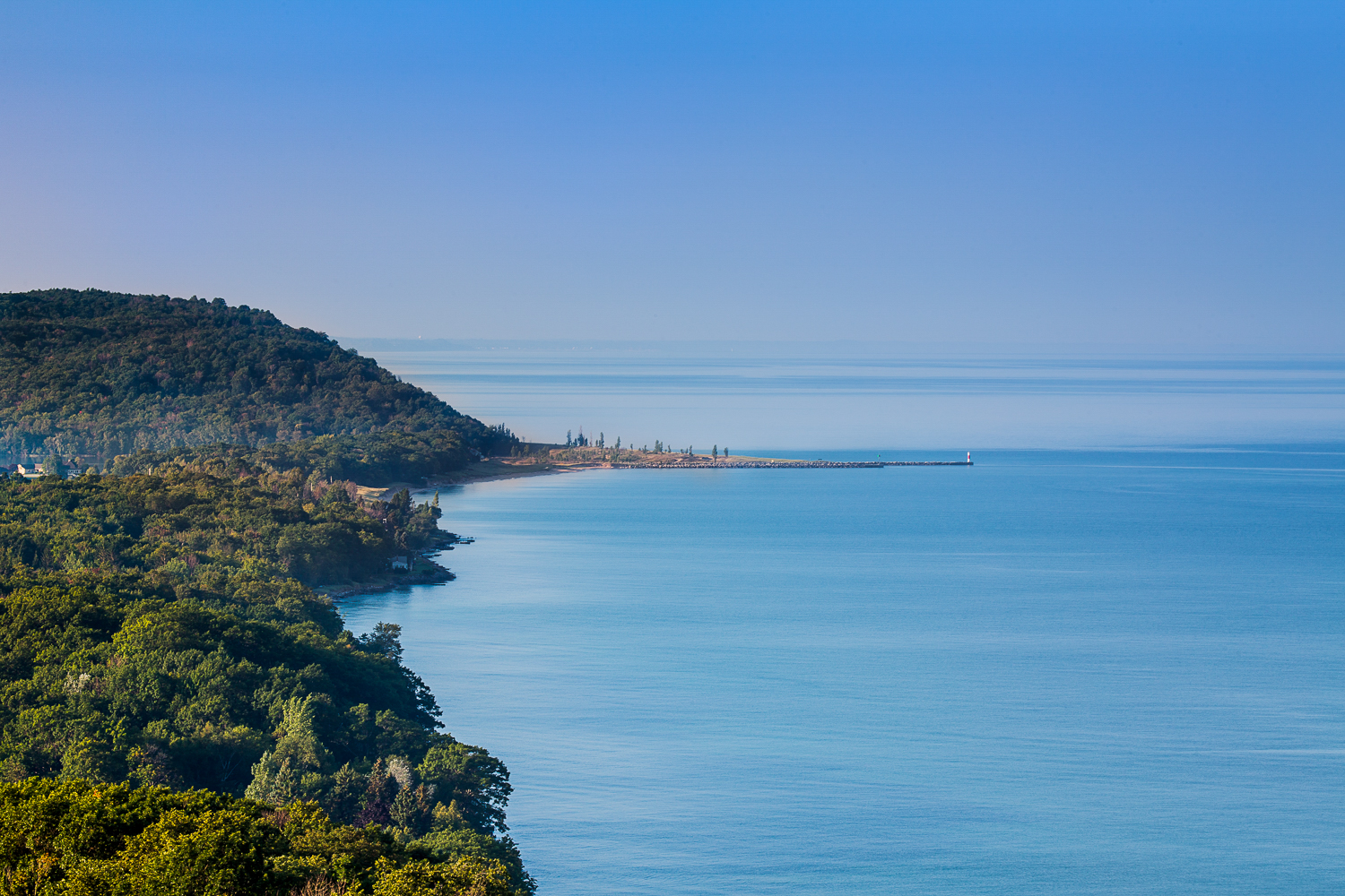 Photo © Drew Smith View of the Lake Michigan Shoreline and Arcadia from the Inspiration Point Overlook on M22.  This is a favorite...