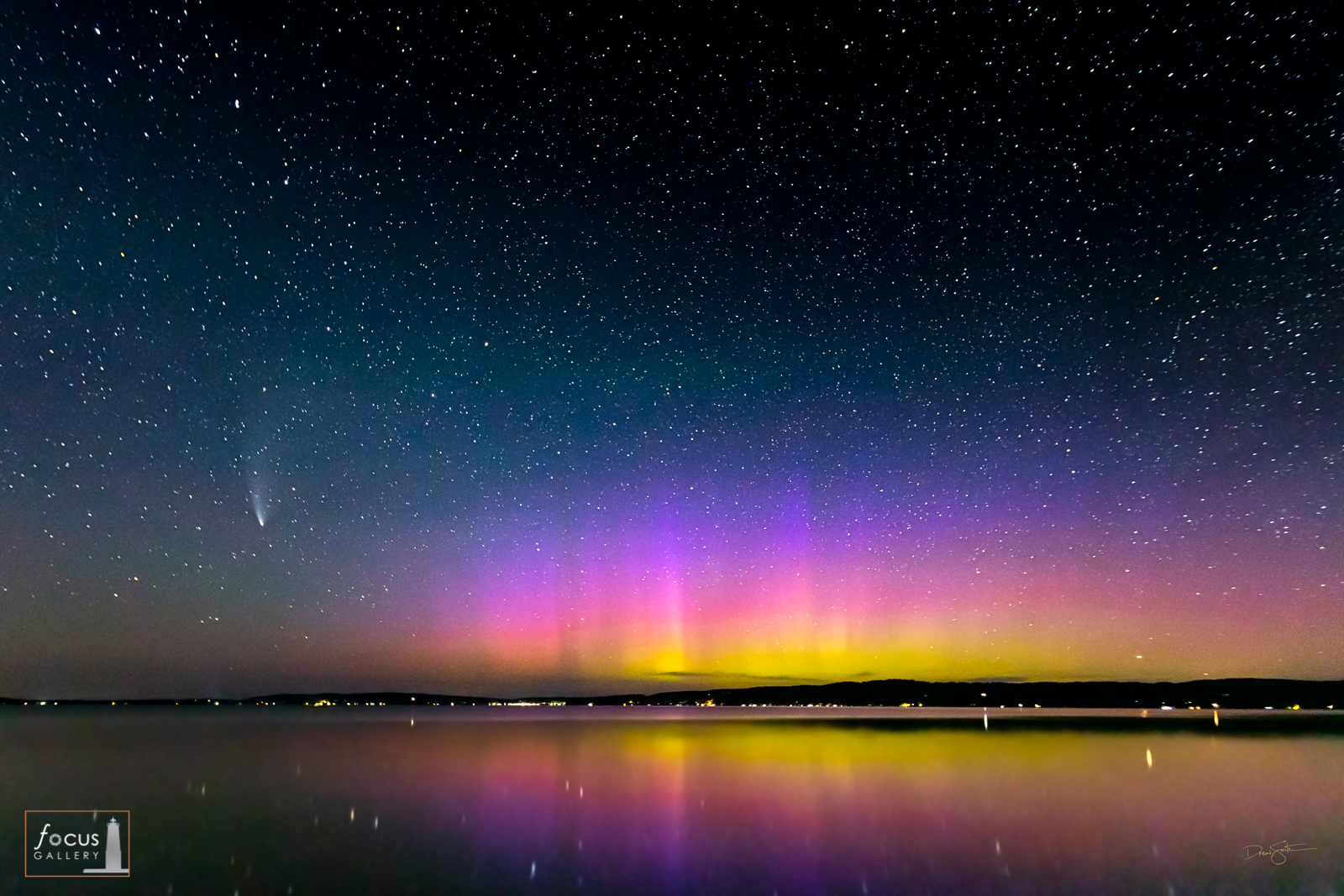 Comet NEOWISE and aurora borealis over Crystal Lake at Railroad Point.