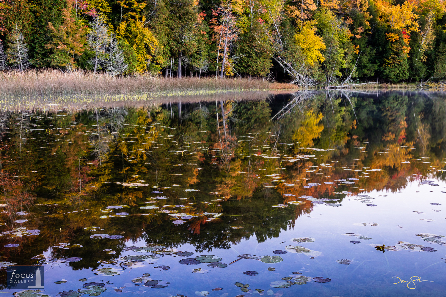 Photo © Drew Smith The colors of an autumn evening reflect on the calm surface of Lower Woodcock Lake. This image was taken...