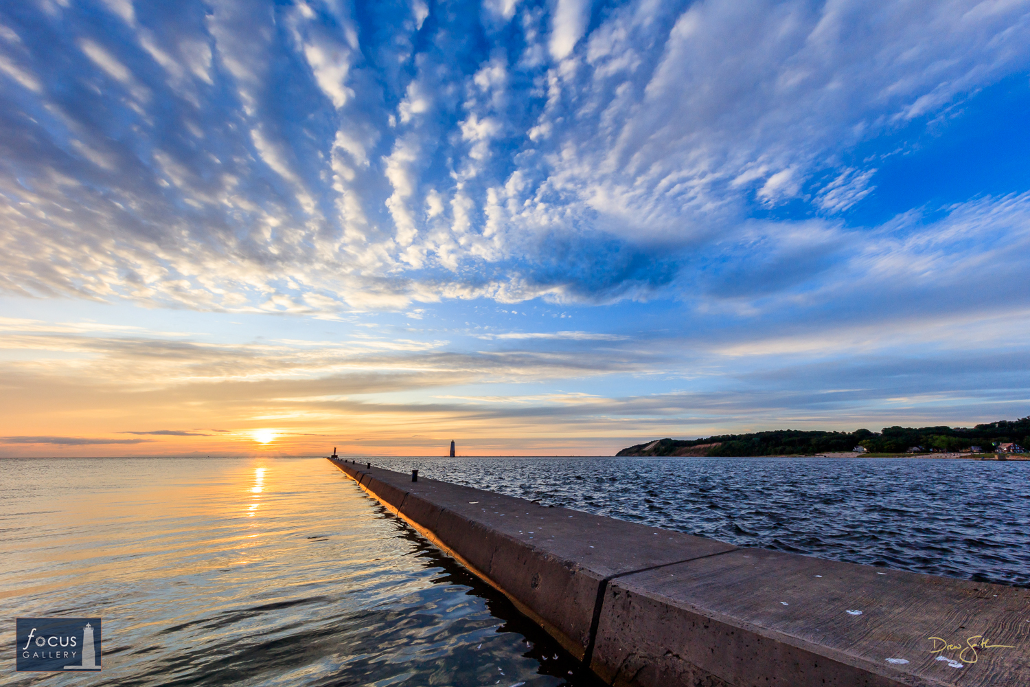 """Photo © Drew Smith A beautiful sunset from the Elberta breakwater over Frankfort harbor.  I call this one """"Backwards Breakwater..."""