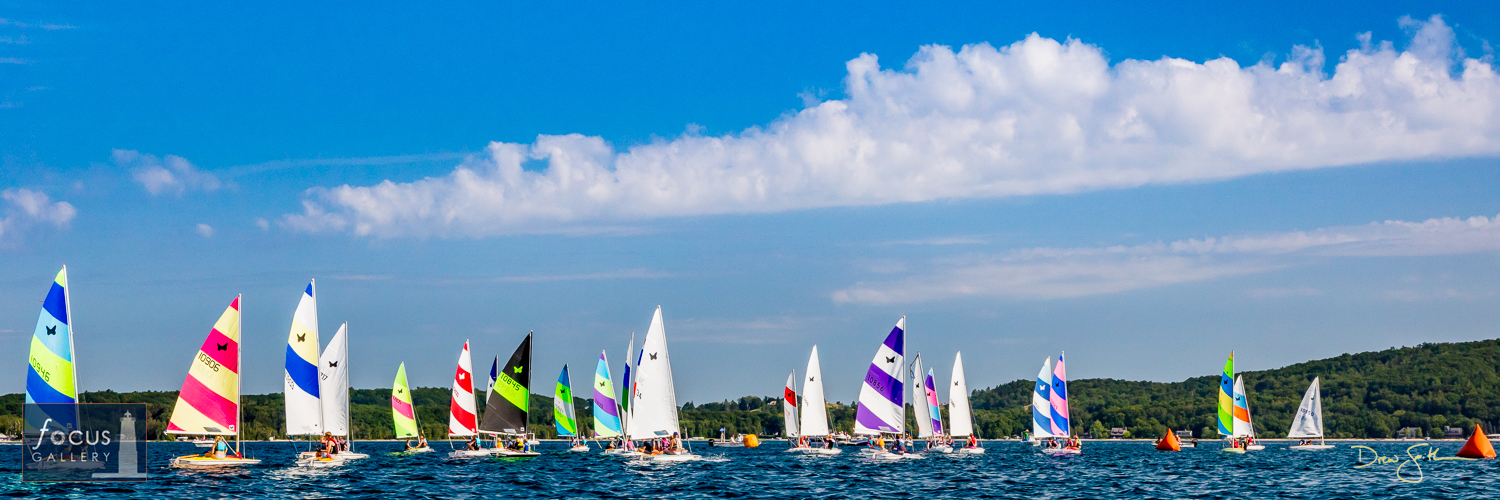 Sailboats compete in the Butterfly Nationals on Crystal Lake.