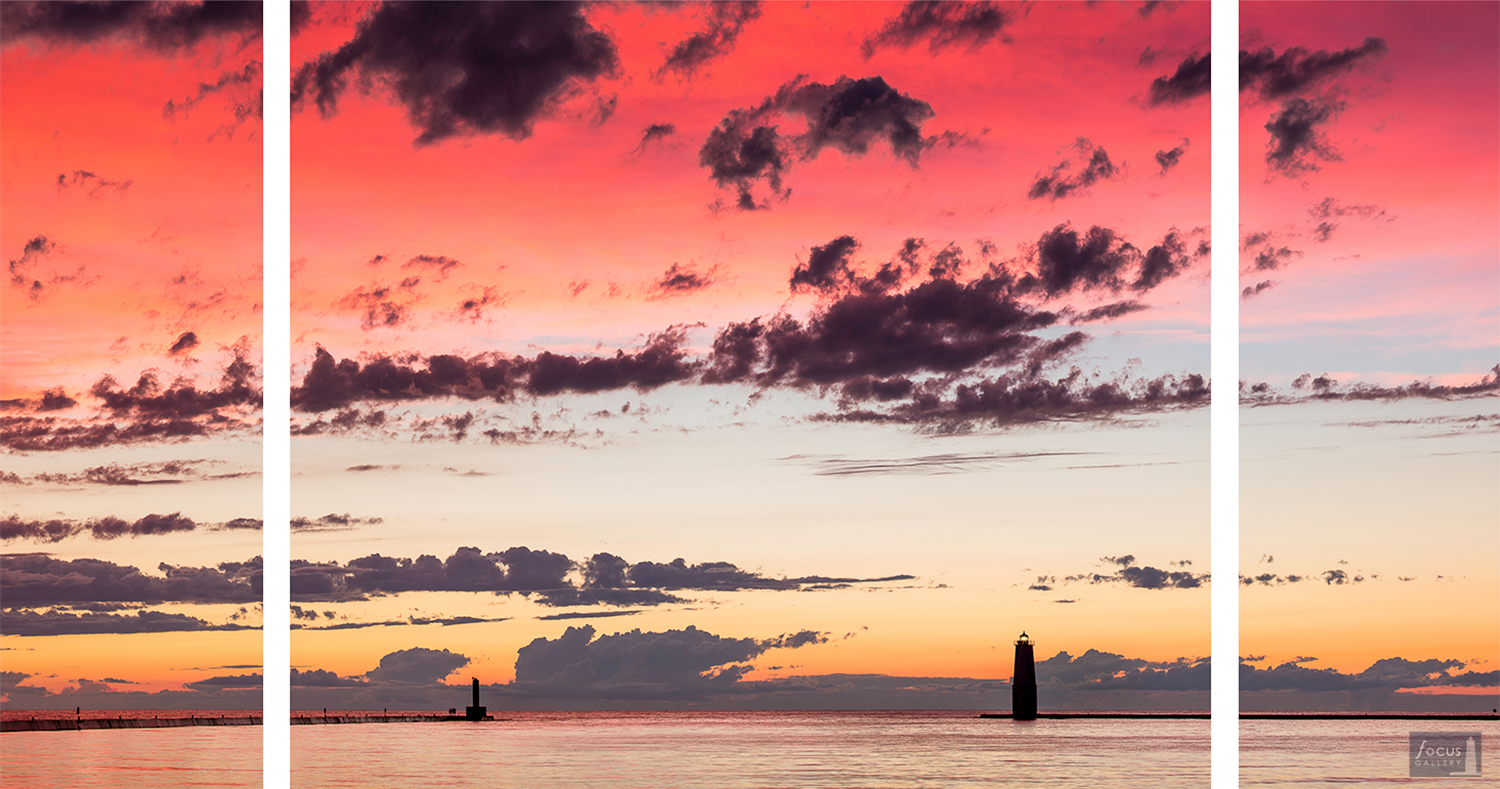 Colorful sunset over Frankfort Harbor and Lake Michigan - triptych image.