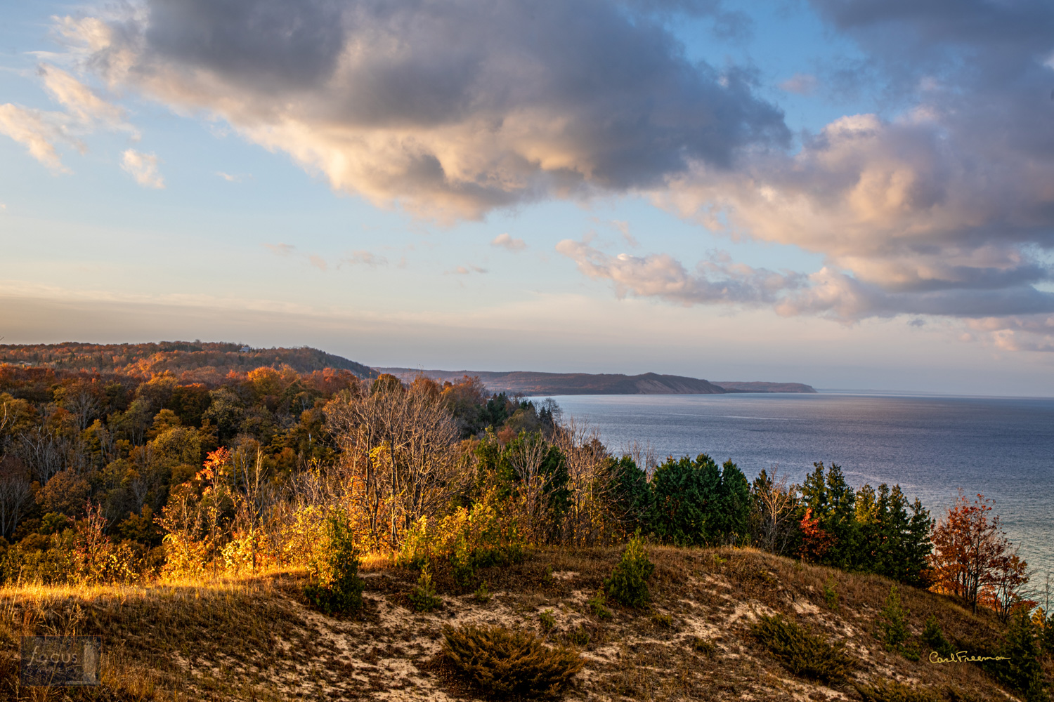 Photo © Carl Freeman Looking south from Elberta Dunes South Preserve, GTRLC. The early morning light makes the sky and fall...