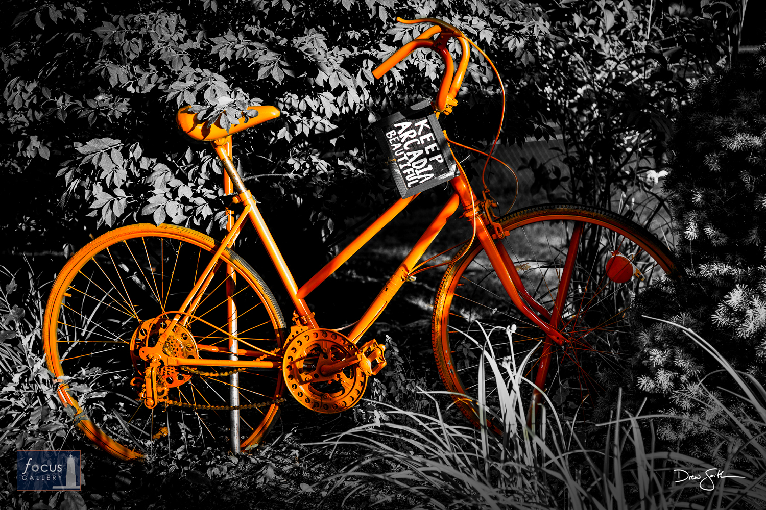Photo © Drew Smith Bicycle sculpture in Arcadia, Michigan in selective color.