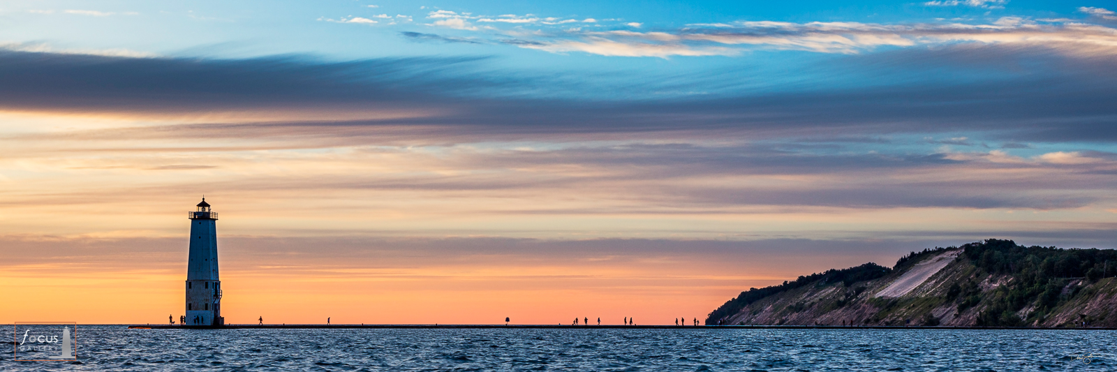 Colorful sunset over the Frankfort North Breakwater Lighthouse, Benzie County, Michigan