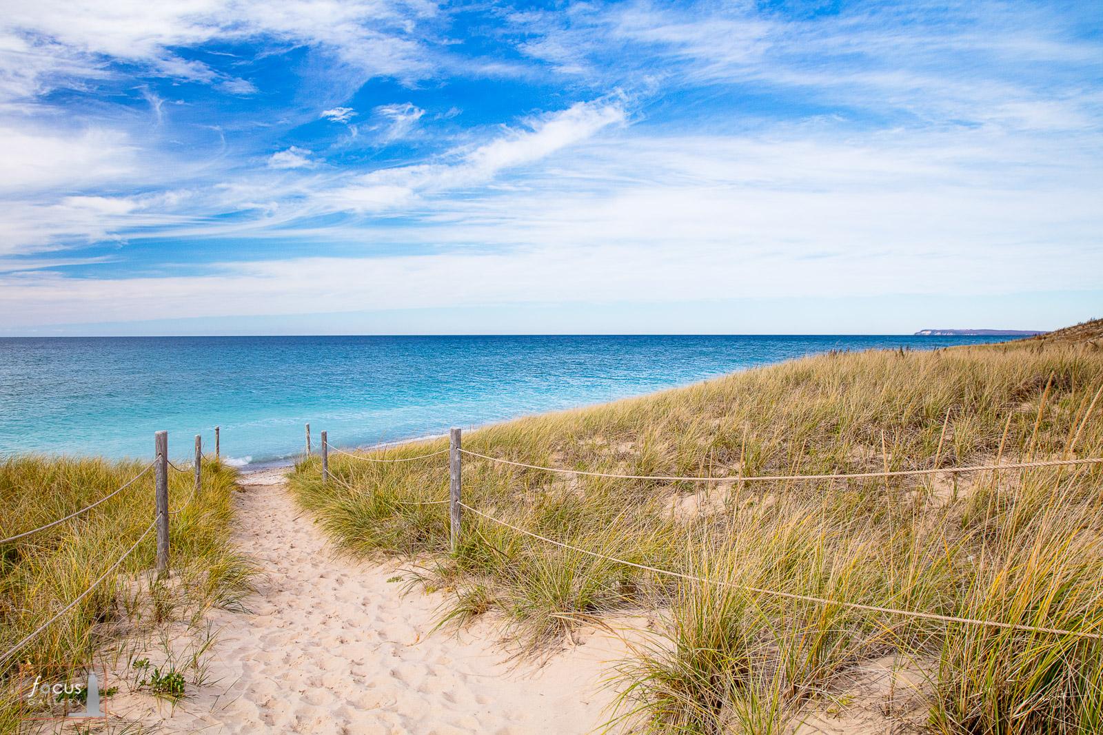 Photograph of the sandy trail to Lake Michigan near North Bar Lake, Sleeping Bear Dunes, Michigan