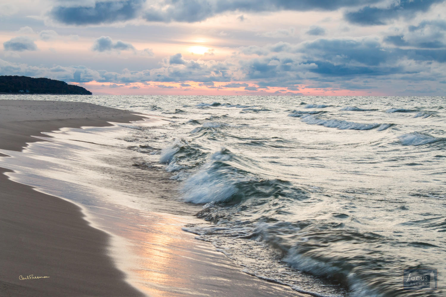 Photo © Carl Freeman Outer beach at Platte Point. Waves washing on the shore have a timeless feeling.