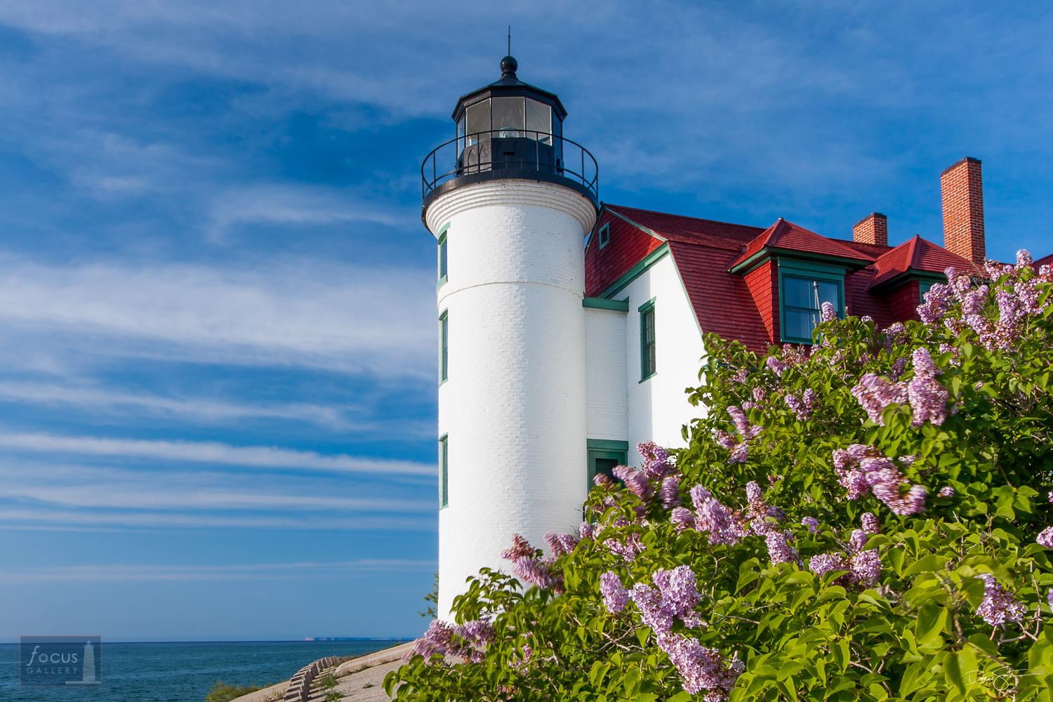Lilac blossoms in front of the Point Betsie Lighthouse.