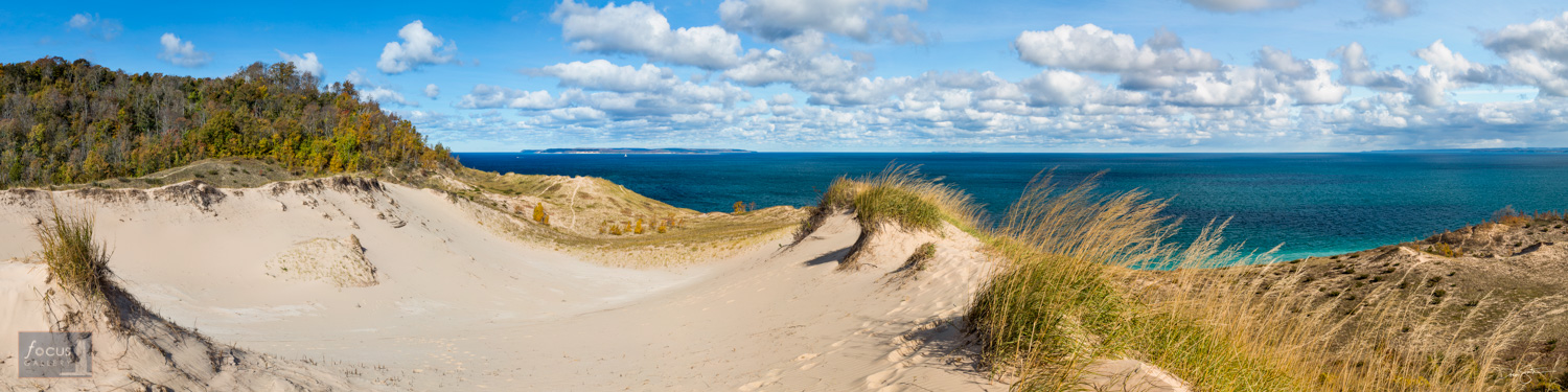 Panoramic view from Pyramid Point in the Sleeping Bear Dunes National Lakeshore.
