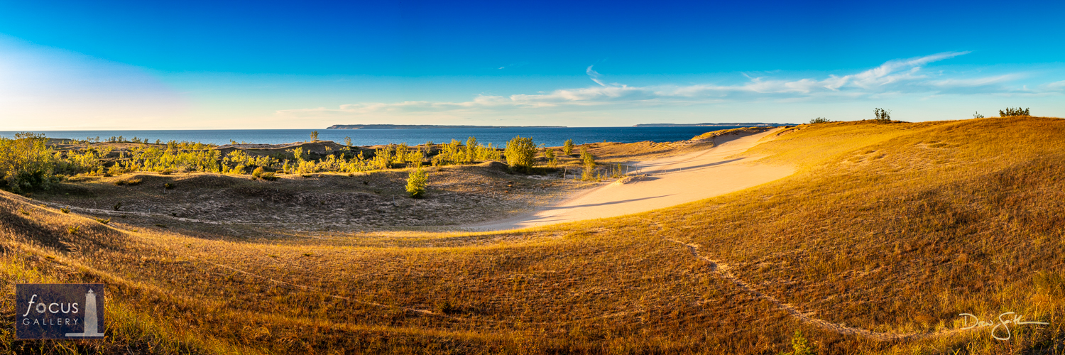 Photo © Drew Smith Paths through the dunes at Sleeping Bear Point with panoramic views over the Manitou Passage, the Manitou...