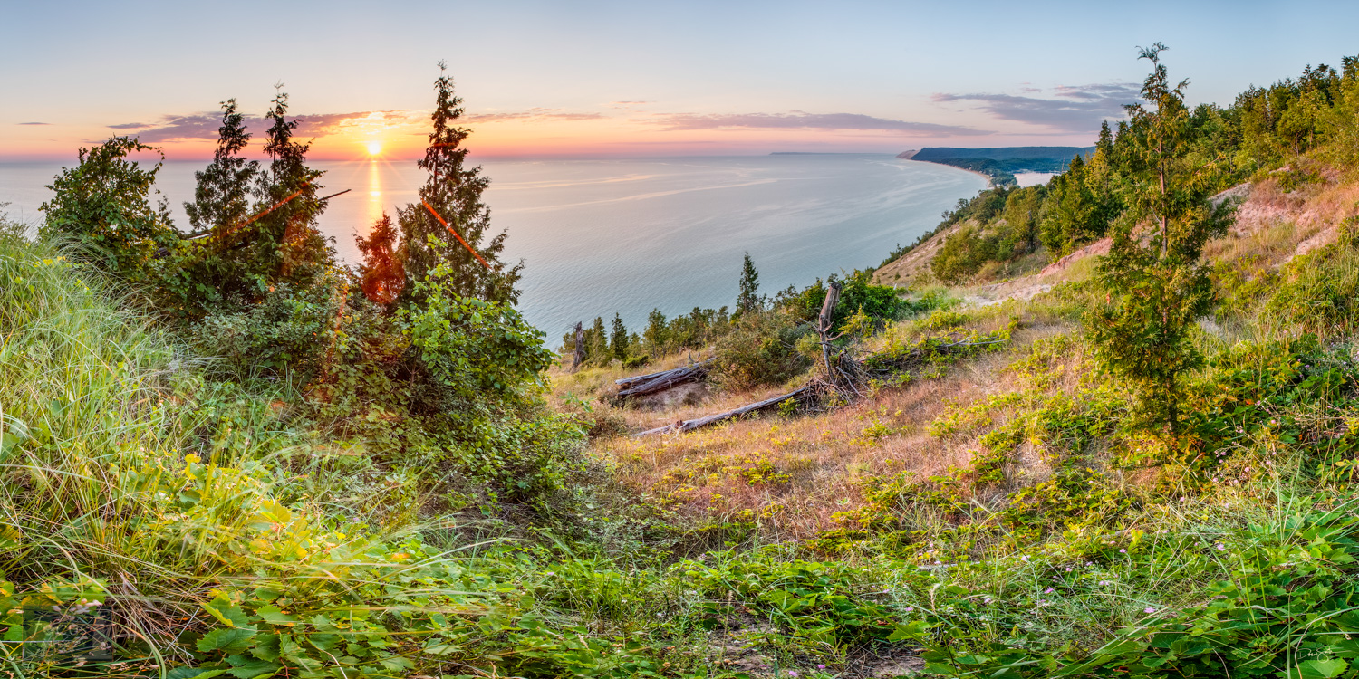 Sunset over Lake Michigan, Empire and Sleeping Bear Dune from Empire Bluff Trail.