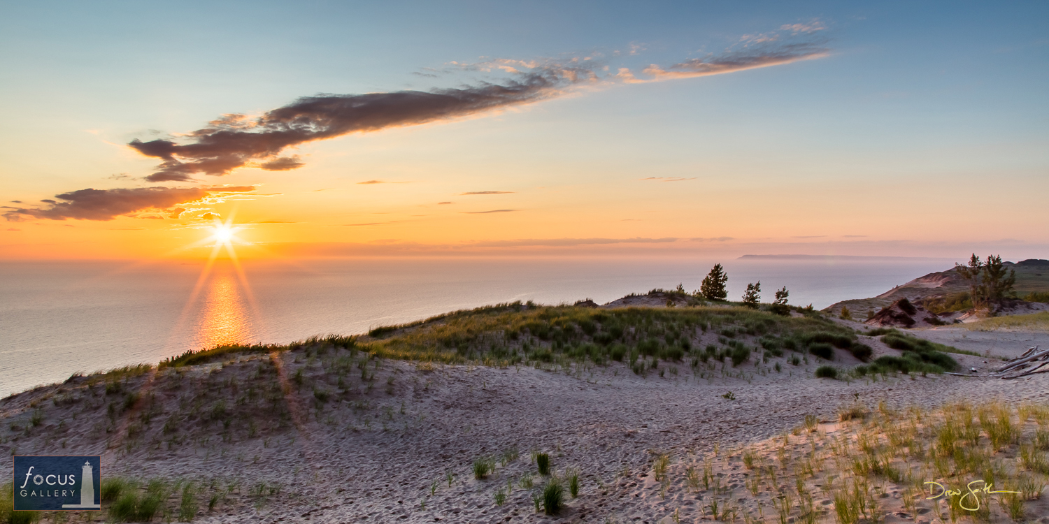 Tranquil sunset from atop Sleeping Bear Dune at the Lake Michigan Overlook.  From this vantage point you get a great view to...