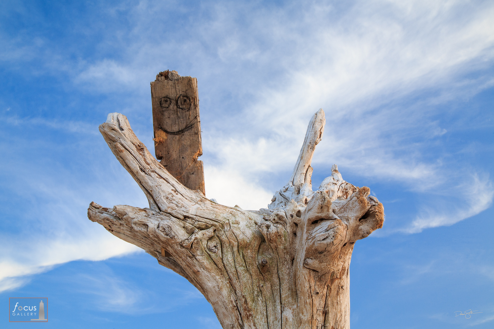 Photo of an old wooden plank with a smiley face on it against a blue sky.