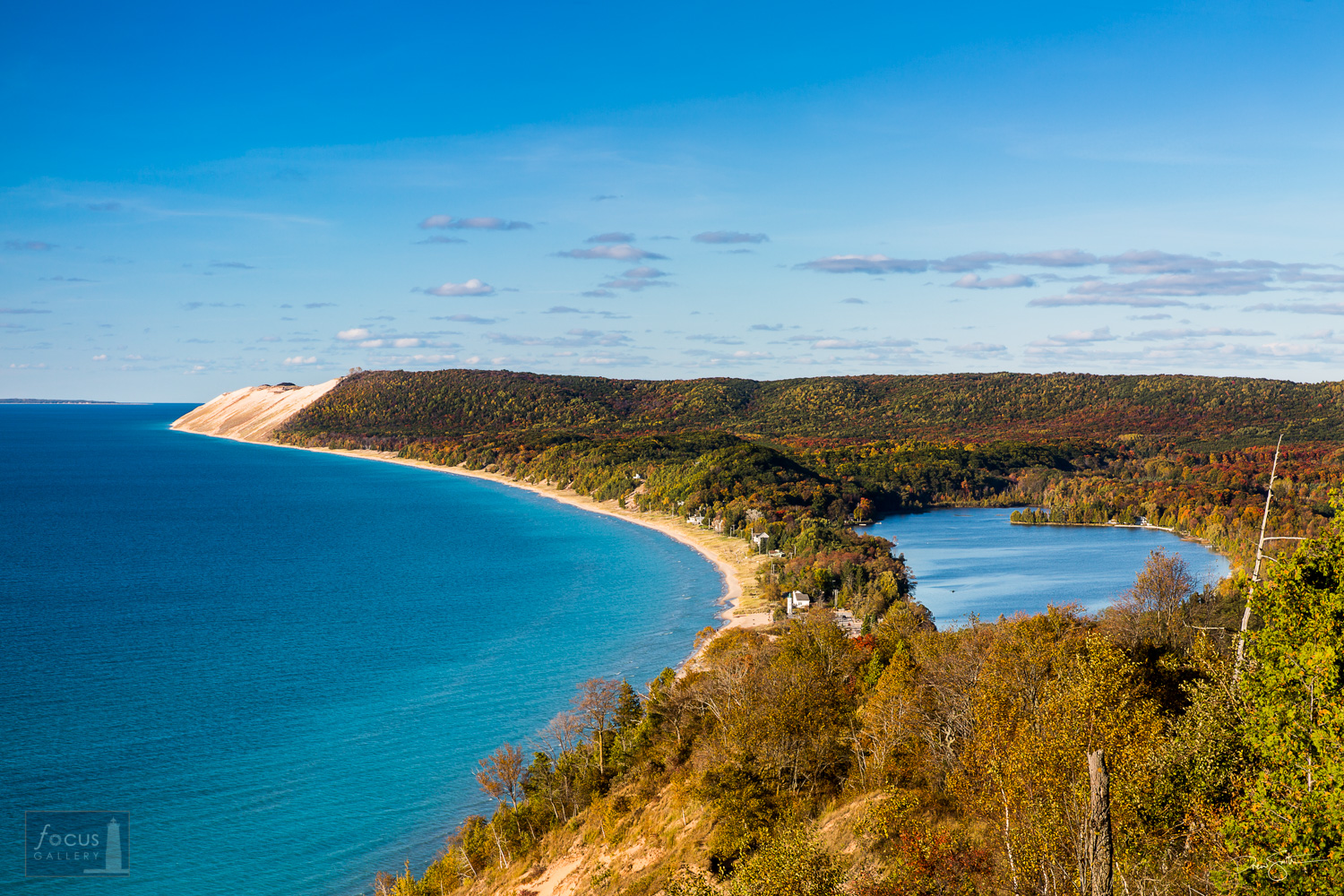 View of Sleeping Bear Dune from the Empire Bluff Trail in Sleeping Bear Dunes National Lakeshore.