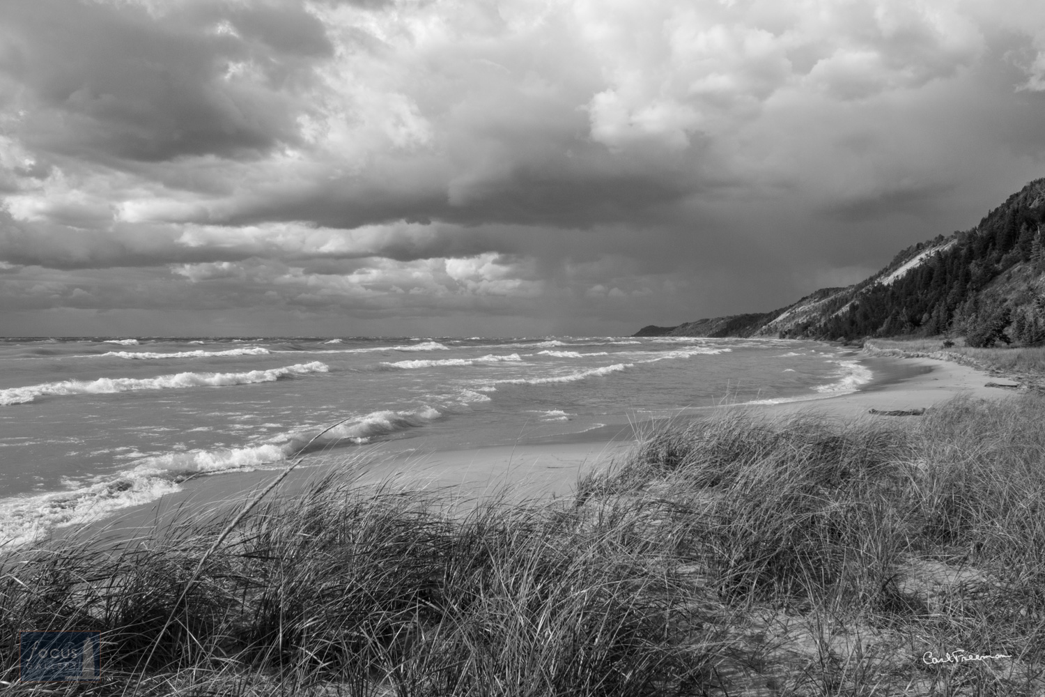 Photo © Carl Freeman Windy day on the beach at Green Point Dunes, South of Elberta, looking North toward Frankfort.  This image...