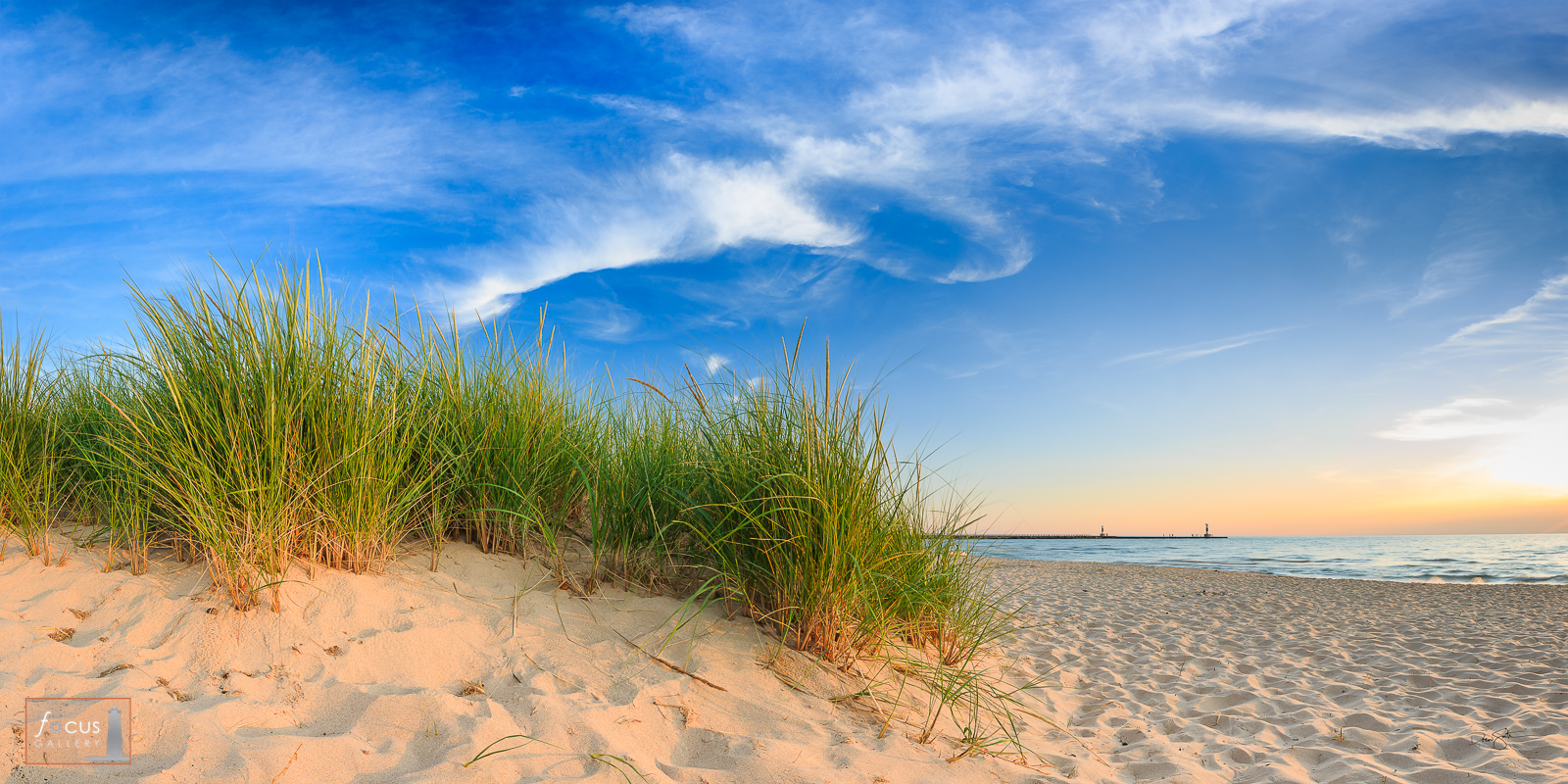 Beach grass and shoreline at Portage Point, Manistee County, Michigan.